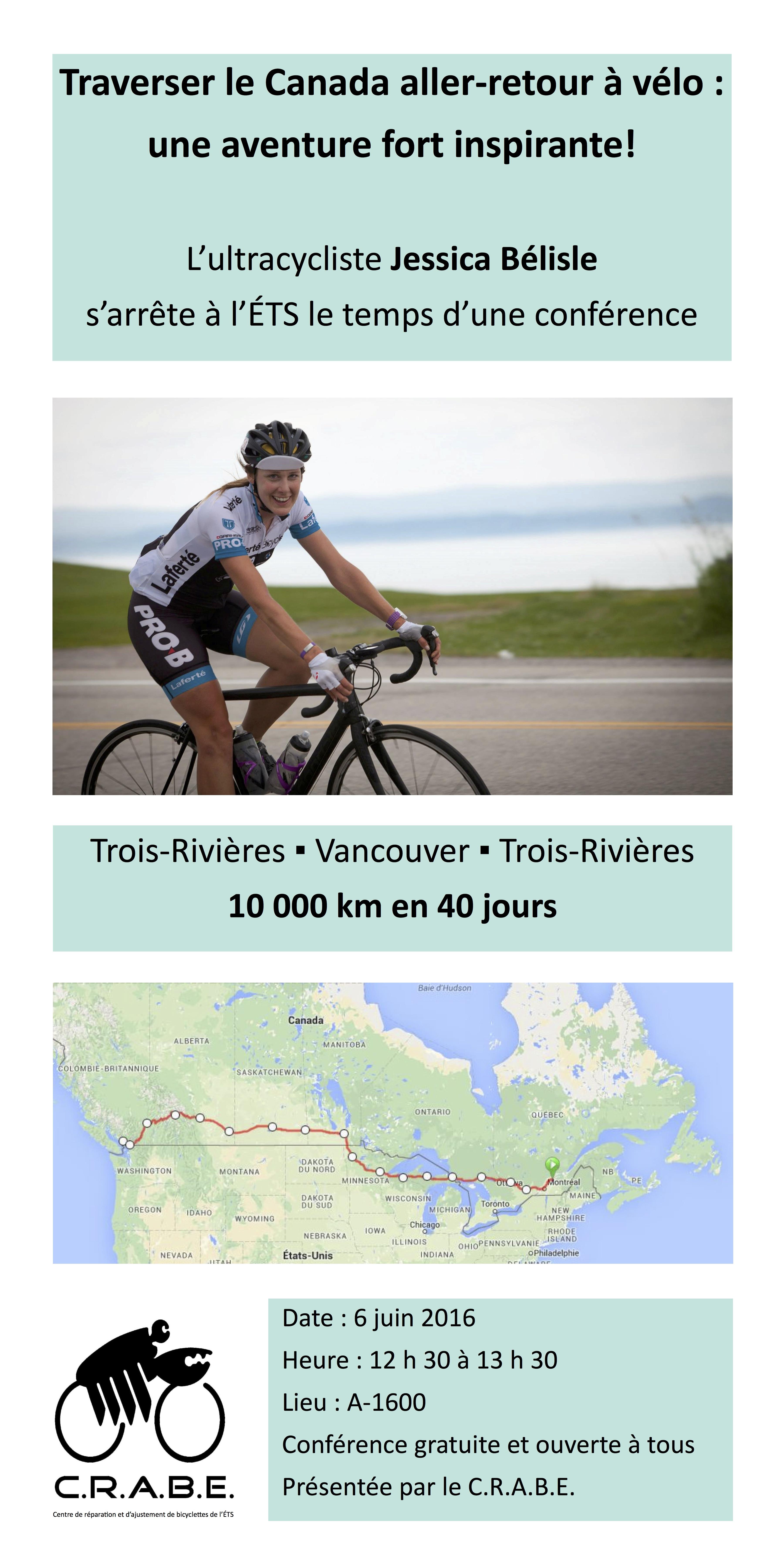 Le CRABe vous propose une conférence (gratuite et ouverte à tous) non seulement sur le cyclisme mais sur le dépassement de soi et l'atteinte de nos défis.